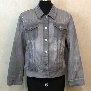 Chicos sz 3 Grey Sequin Denim Jacket Distressed A2